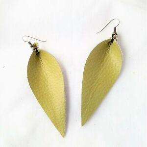 Leather Leaf Earrings / Green Tea / Chartreuse / Yellow-Green / Long Feather Ear