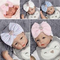 Baby Girls Infant Striped Soft Hat Big Bow Cap Hospital Newborn Beanie Diomand