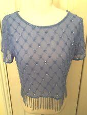 BNWT Miss Selfridge Petites Blue Embellished Short Sleeve Shirt Top UK8 RRP£45