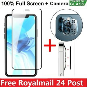 For iPhone 13 Pro Max Mini 12 Tempered Glass Screen Protector+Camera Cover Film