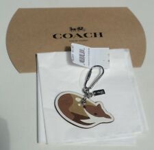 Coach Leather Deer Fawn Charm Keychain F54923 Brown Tan White NWT + Box