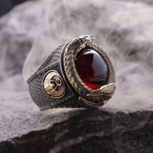 Punk Men's Animal Stainless Steel Ruby Gold Dragon Biker Black Rings Jewelry