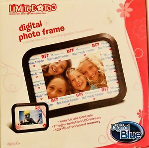 """Digital Picture Frame LCD 7"""" 128 MB Limited Too BFF Best Friends Digital Blue"""