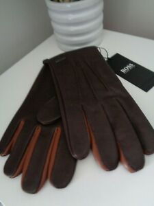 BNWT Hugo Boss Dark Brown Harvy Leather Gloves - size 9 GIFT IDEA!