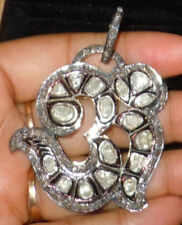 & Polki Victorian Om Design Pendant Uncut Antique Rose Cut Diamond 3.20ct Silver