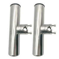 """2PCS Stainless Steel Clamp On Fishing Rod Holder For Rails 7/8"""" to 1"""" Rail Mount"""