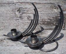 Pair Of Danish Welded Metal Candlestick Holders Made In Denmark Brutalist Design