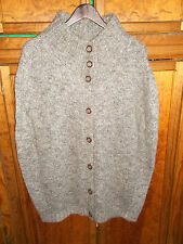 Olsen Europe Sweater Poncho Cape Cardigan Gray Wool Mohair Large