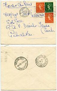 GB MISSENT to SINGAPORE FORCES RAF DEVILS TOWER CAMP GIBRALTAR 1955
