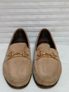 Vero Cuoio Mens Brown Suede Leather ITALIAN Loafers Gold Horsebit Shoes Size 9.5