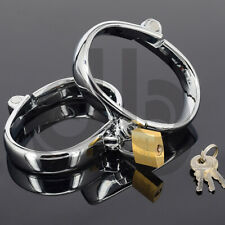 Steel Female Ankle Cuffs - bondage shackles restraint chrome plated