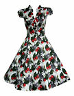 LADIES 1940'S 1950'S VINTAGE STYLE  FRUIT AND FISH  PRINT TEA DRESS NEW 8 -18