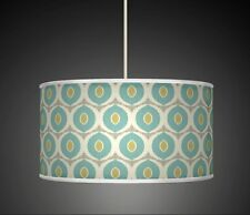 Ovels Blue Green  Handmade Printed Fabric Lamp Shade Drum Pendant Light 348