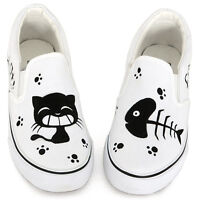 Women Fashion Hand Painted Cute Kittens Cat & Fish Slip-on White Canvas Shoes
