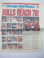 Chicago Sun Times April 1996 Souvenir Edition Chicago Bulls Reach 70 Newspaper
