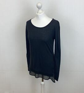 All Saints Miro Long Sleeve Top Grey Sheer Hem Detail Sz 6 UK Ladies