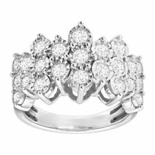 Finecraft 1 Ct Diamond Honeycomb Ring in Sterling Silver