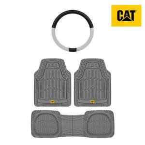 All Weather Heavy Duty Universal Floor Mats / Liner (3pc) + Steering Wheel Cover