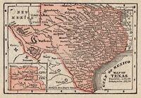 RARE Antique TEXAS State Map 1888 RARE MINIATURE Vintage Map of Texas #7922