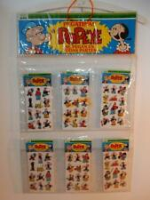 VINTAGE POPEYE PUFFY STICKERS 1980s MOC STORE DISPLAY MUNDI PAPER LOT