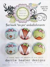 DUCK FOX BIRD Set FLAT BACK TIN PIN Embellishments Set Darcies DHD306 NEW