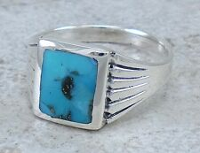 HANDSOME MEN'S .925 STERLING SILVER TURQUOISE RING size 8  style# r2352