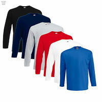 Mens Fruit of the Loom Long Sleeve Cotton T Shirt 6 Colours  Work Casual Leisure