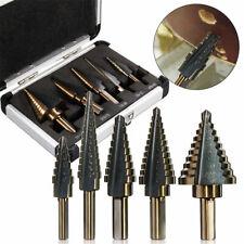 5PCS HSS COBALT MULTIPLE HOLE 50 Sizes STEP DRILL BIT SET w/ Aluminum Case