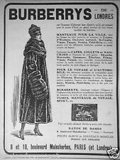 PUBLICITÉ 1917 BURBERRYS DE LONDRES MANTEAUX CAPES COLLETS SKUNKS ZIBELINE VISON