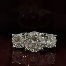 4.70 Carat Round Cut 3 Stone D VS2 Diamond Solitaire Engagement Ring 14k W Gold