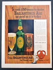 Ballantine Ale Beer 1958 Vintage Print Ad Bar Decor Breweriana Original Ad
