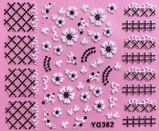 Nail Art 3D Decal Stickers Black & White Flowers Latice Pattern Tips YG362 XF188