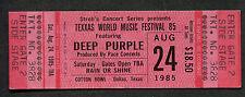1985 Texxas World Music Concert Unused Ticket Deep Purple Scorpions Bon Jovi Jam