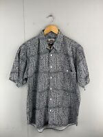 Brittania Natural Men's Vintage Short Sleeved Button Up Shirt Size S Grey