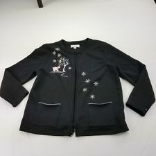 Breckenridge Sweater XLP Petite Black Snowflake Cardigan Zip Crewneck