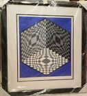 """Victor Vasarely """"Cubic Relationship"""" 1982 hand signed Lithograph"""