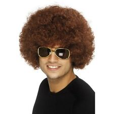 Brown Disco Funky Afro Wig Adult Unisex Smiffys Fancy Dress Costume