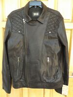 """MEN`S NEW REAL LAMB LEATHER BIKER JACKET SIZE LARGE 42"""" CHEST (EU 52) MOTORCYCLE"""