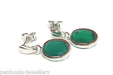 9ct White Gold Green Agate Drop Earrings Made in UK Gift Boxed