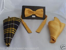 Polyester Plain Yellow Bow Tie + 2 Hankies (Tartan and Plain) P&P 2UK>1st Class