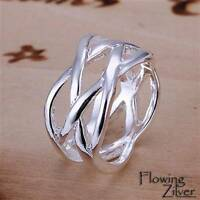 925 Sterling Silver Filled Ring Plaited Women's Woven Twisted Band Size 6 7 8