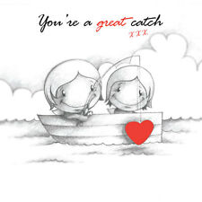 """You're a Great Catch"" Cupids Birthday Card romantic couple fish in boat"