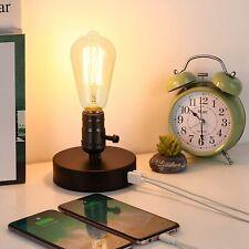 Vintage Table Lamp w/ 2 USB Port Small Bedside Desk Lamp...