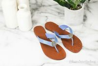 Tory Burch 43089 Thora Flat Tumbled Leather Chambray Blue Filp Flop Sandals