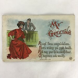 Antique Congratulations Wishing Good Health Postcard 1909 Postmark