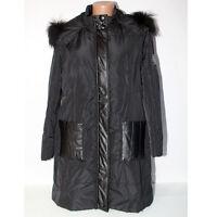 Giacca piumino Paola Joy 48 + Cappotto cappuccio removibile pelliccia donna nero