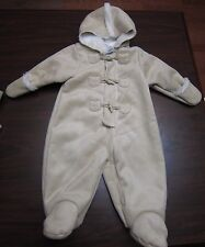 Baby Girl or Boy First Impressions Oatmeal Colored Sueded Footed Coat 12 Months