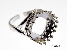 925 Silber Ring Rohling 12mm Fassung quadratisch  (9850SH)