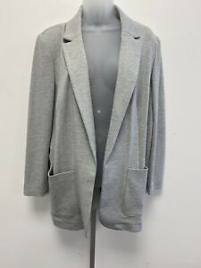 NEW! M&S Marks & Spencer grey-marl stretch unlined relaxed fit non-fasten jacket