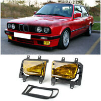Front Bumper Yellow Fog Lights Plastic Lens Kit For 85-93 BMW E30 3-Serie SedanT